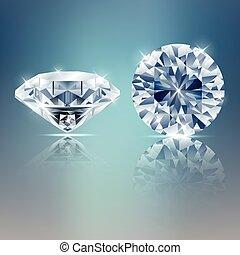 Two diamonds sparkling background