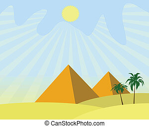 egypt pyramids - illustration of two egypt pyramids with...