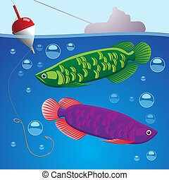 Illustration of two fish underwater hook with fishing line and float above the water silhouette of a boat and fisherman. Vector illustration design element cover, background.