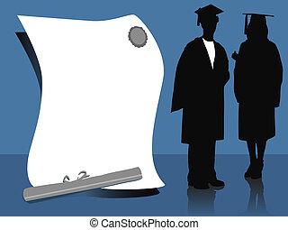 graduates - illustration of two graduates, silhouettes