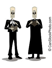 two hideous skeleton face grimace holding death book -...