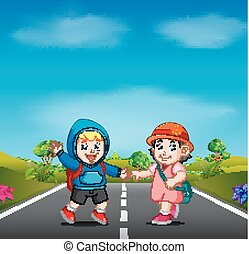 two kids go to school on the road