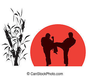 Illustration, of two men engaged in karate over red...