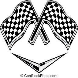 metallic racing checkered flag crossed with chevron -...