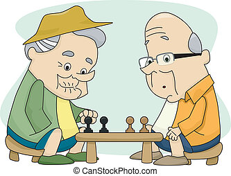 Old Men Playing Chess - Illustration of Two Old Men Playing ...