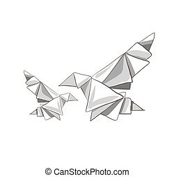 Illustration of two origami painted bird