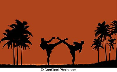 Illustration of two people engaged in martial arts on the beach..eps