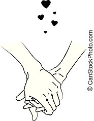 Illustration of two people touching hands - Illustration