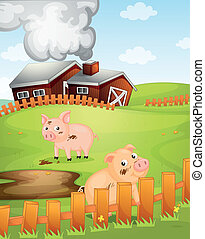 Pigs Abstract Vector Illustration Of Various Silhouettes