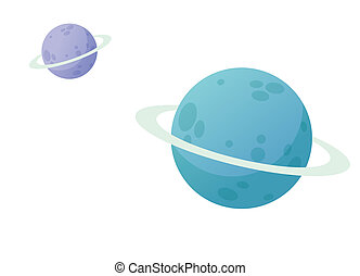 planets - Illustration of two planets in white background