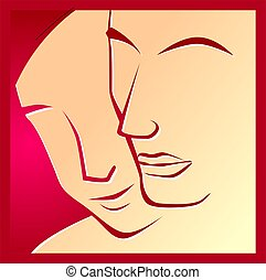 faces - Illustration of two red faces in a red background