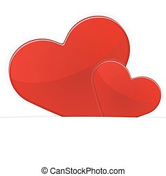 Two red hearts on a white background