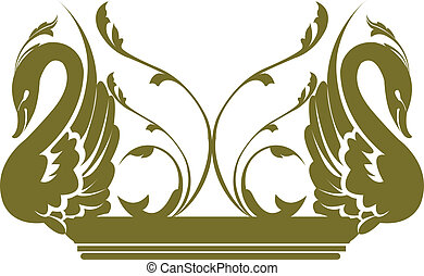 Illustration of two swans decorated