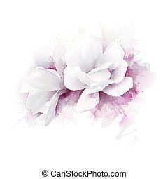 Illustration of two white beautiful Magnolias, Spring elegant flowers depicted on the watercolor background.