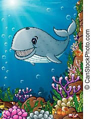 Illustration of under the sea - Vector illustration of under...