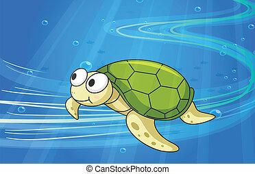 under water tortoise - illustration of under water tortoise