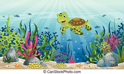Illustration of underwater landscape with turtle