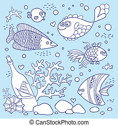 Illustration of underwater life. A set of elements fish,...
