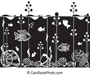 Illustration of underwater scene - Black and white...