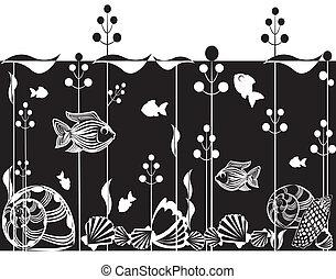 Illustration of underwater scene - Black and white ...