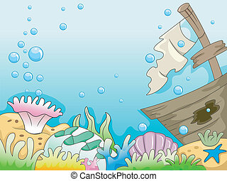 Shipwreck - Illustration of Underwater Shipwreck