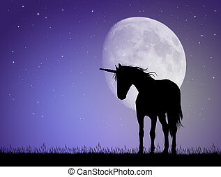 Unicorn silhouette in the moonlight