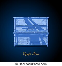 illustration of upright piano