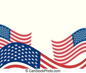 Illustration of USA flag, wavy, developing, blurred effect....