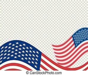Illustration of USA flag, wavy, unfolding, blurred effect....