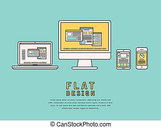 illustration of user interface design in flat line style