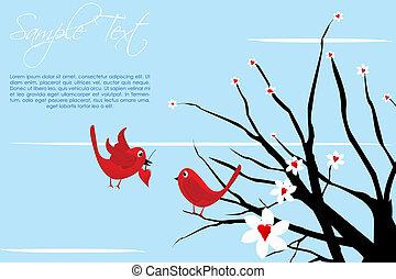 valentine card with birds - illustration of valentine card...