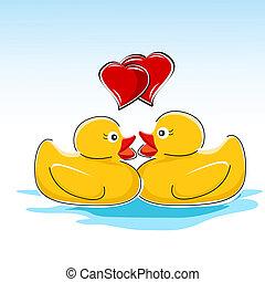 valentine card with ducks