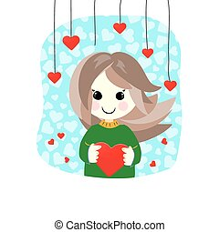 Valentine cute girl with heart