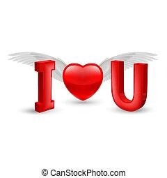 I Love You - Illustration of Valentines Day Concept - I Love...