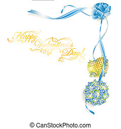 illustration of Valentine`s day frame with forget-me-not bouquet and golden heart, copyspace for your text