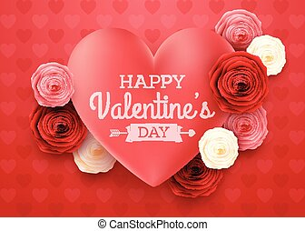 Valentines day greeting card with Hearts background