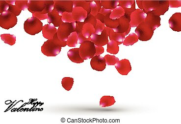Valentines day with rose petals