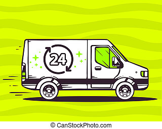 illustration of van free and fast delivering 24 hours to