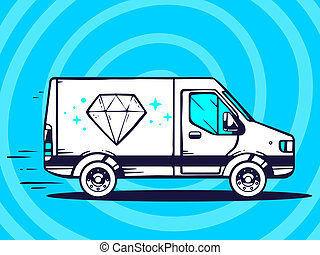 illustration of van free and fast delivering diamond to c