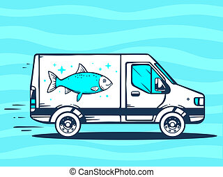 illustration of van free and fast delivering fish to cust