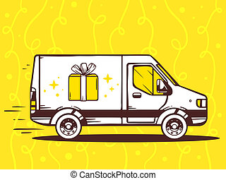 illustration of van free and fast delivering gift box to