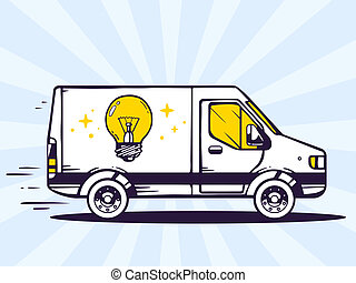 illustration of van free and fast delivering light bulb t