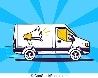 illustration of van free and fast delivering megaphone to