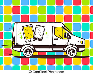 illustration of van free and fast delivering phone to cus