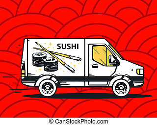illustration of van free and fast delivering sushi to cus