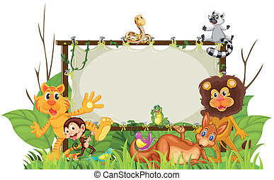 illustration of various animals on a white background