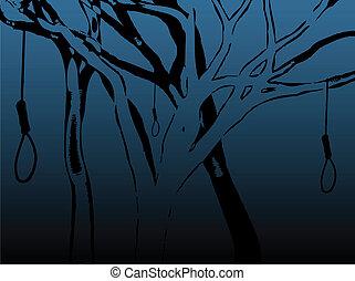 Illustration of various creepy tree