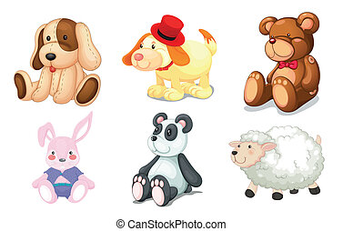 various toys - illustration of various toys on a white...