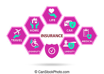 Illustration of various types of insurance
