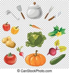 illustration of various utensils and vegetables on a transparent backgound